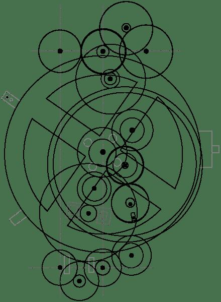 440px-Antikythera_mechanism_svg Il Misterioso calcolatore di Antikythera,