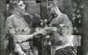 1-I-due-lottatori-sotto-un-quadro-dal-titolo-Natura-morta-con-fiori-di-campo-e-rose-di-Vincent-van-Gogh-300x188 I misteri che si celano dietro le opere d'arte