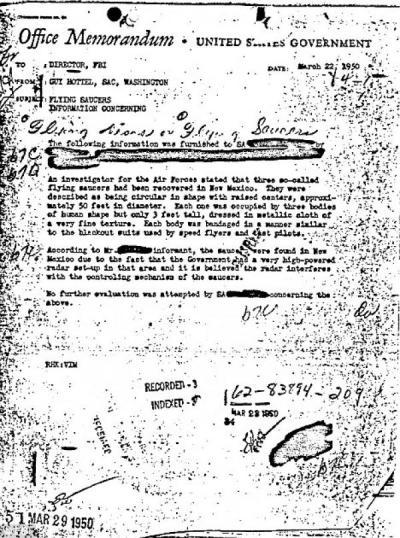 5 DOCUMENTI Segreti DE-SEGRETATI DELL'FBI